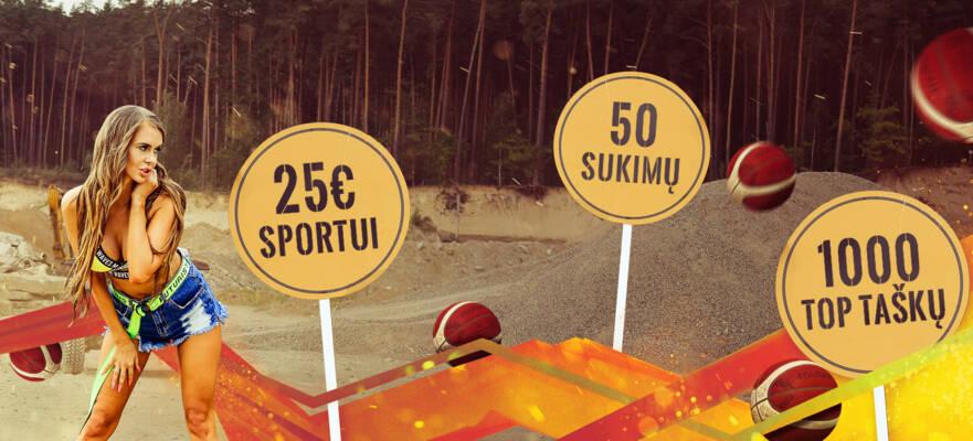 STATYBOS LAŽYBOS 2: PAPILDYK IR GAUK 25€ SPORTUI, 50 SUKIMŲ, 1000 TOP TAŠKŲ!