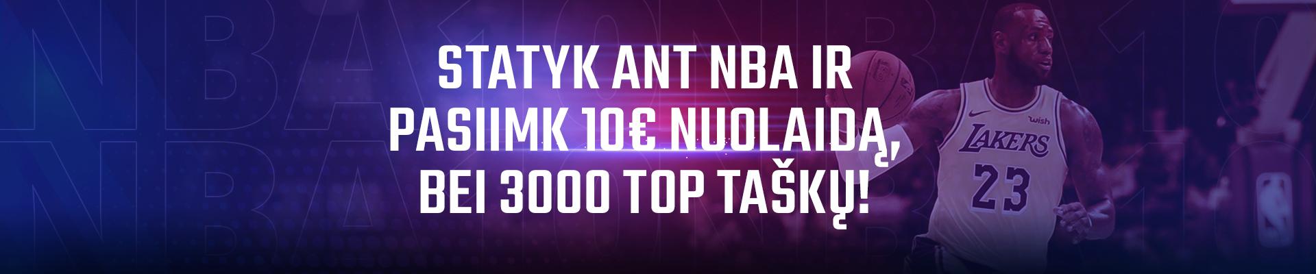 Statyk ant NBA ir pasiimk papildomą 10€ statymą